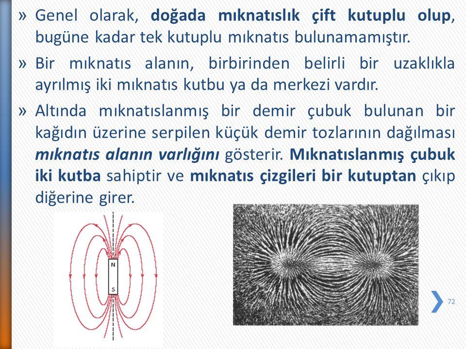 Genel olarak, doğada mıknatıslık çift kutuplu olup, bugüne kadar tek kutuplu mıknatıs bulunamamıştır.