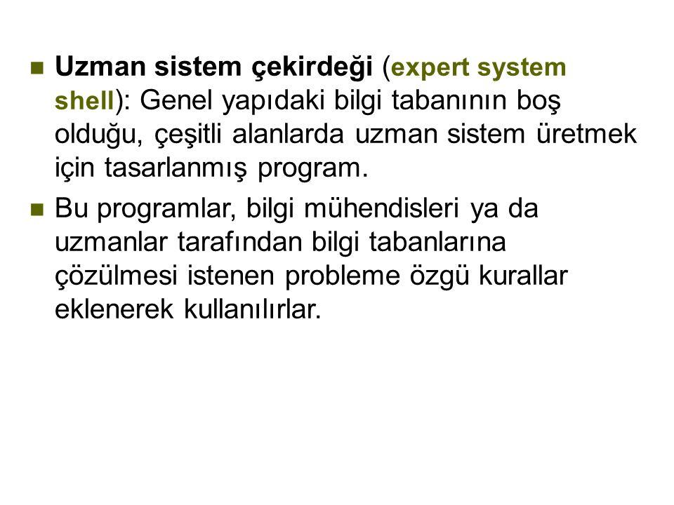 Uzman sistem çekirdeği (expert system shell): Genel yapıdaki bilgi tabanının boş olduğu, çeşitli alanlarda uzman sistem üretmek için tasarlanmış program.
