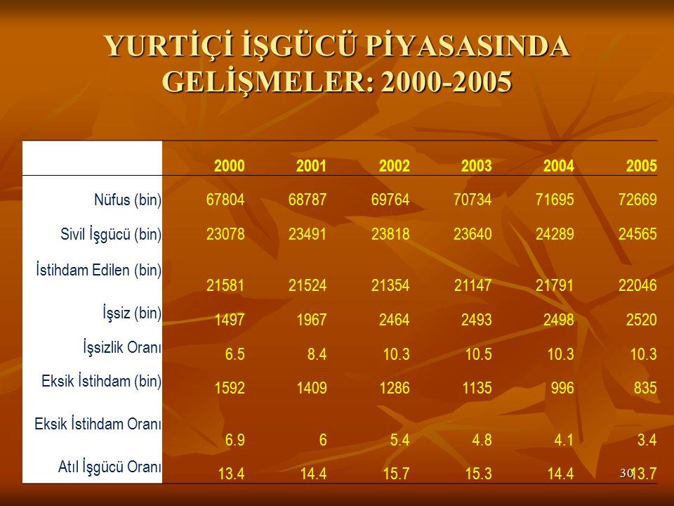 YURTİÇİ İŞGÜCÜ PİYASASINDA GELİŞMELER: 2000-2005