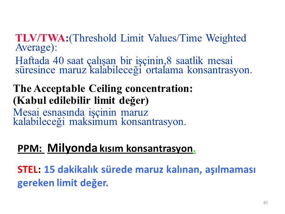 TLV/TWA:(Threshold Limit Values/Time Weighted Average):