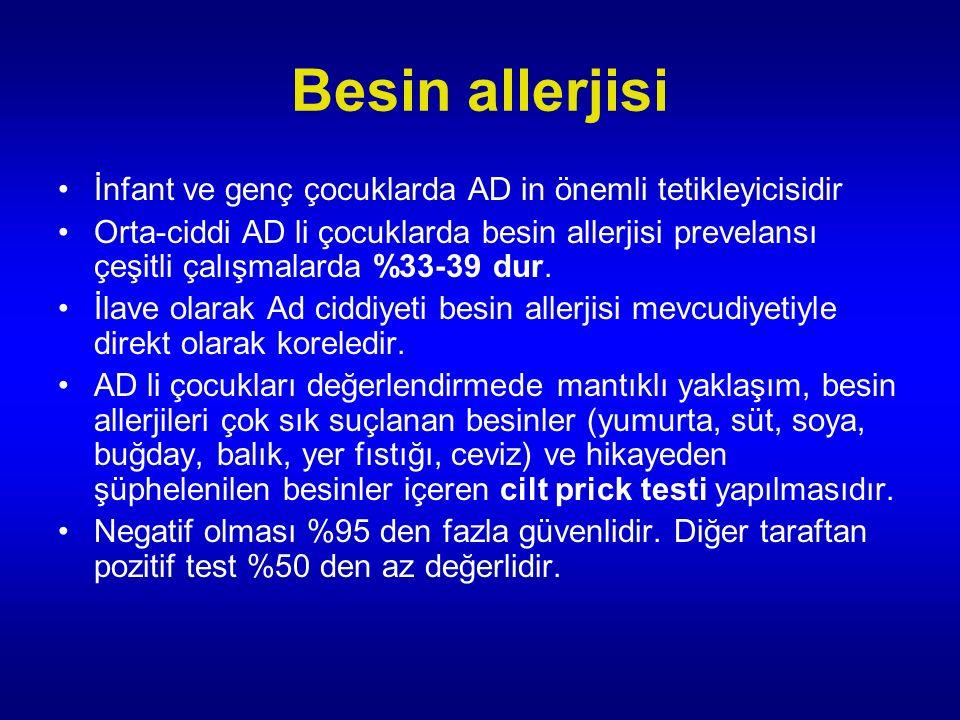Besin allerjisi İnfant ve genç çocuklarda AD in önemli tetikleyicisidir.