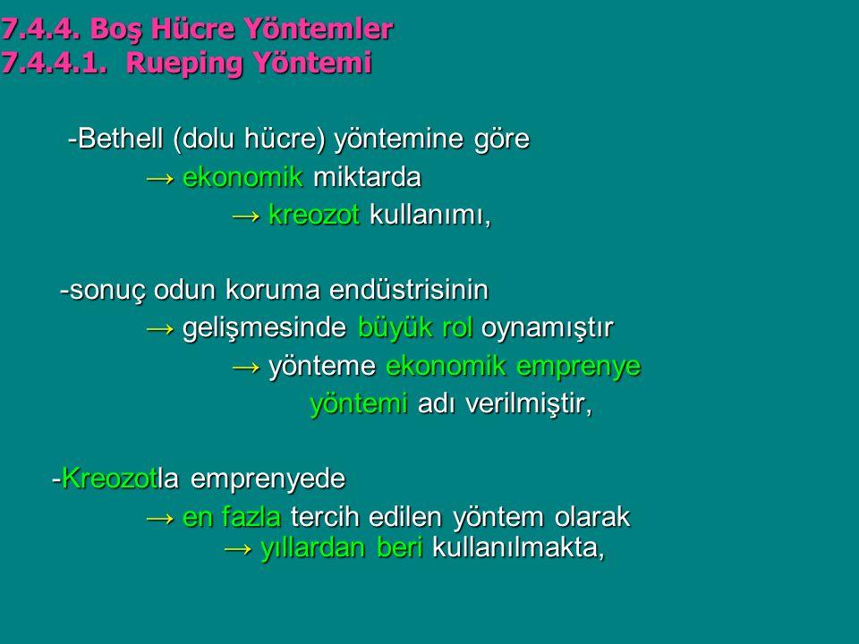 7.4.4. Boş Hücre Yöntemler 7.4.4.1. Rueping Yöntemi. -Bethell (dolu hücre) yöntemine göre. → ekonomik miktarda.