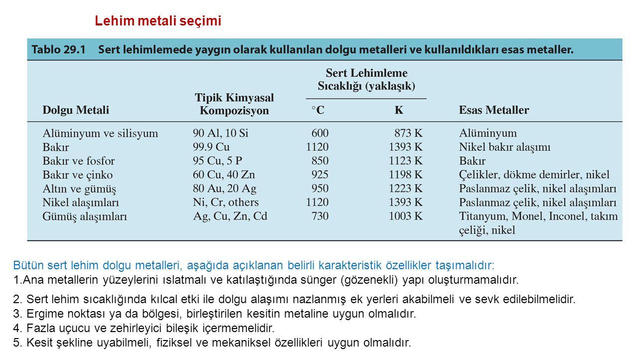 Lehim metali seçimi Bütün sert lehim dolgu metalleri, aşağıda açıklanan belirli karakteristik özellikler taşımalıdır:
