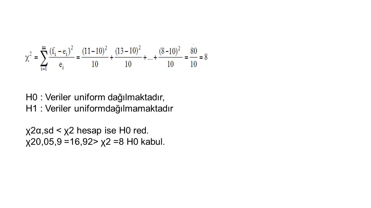 H0 : Veriler uniform dağılmaktadır,