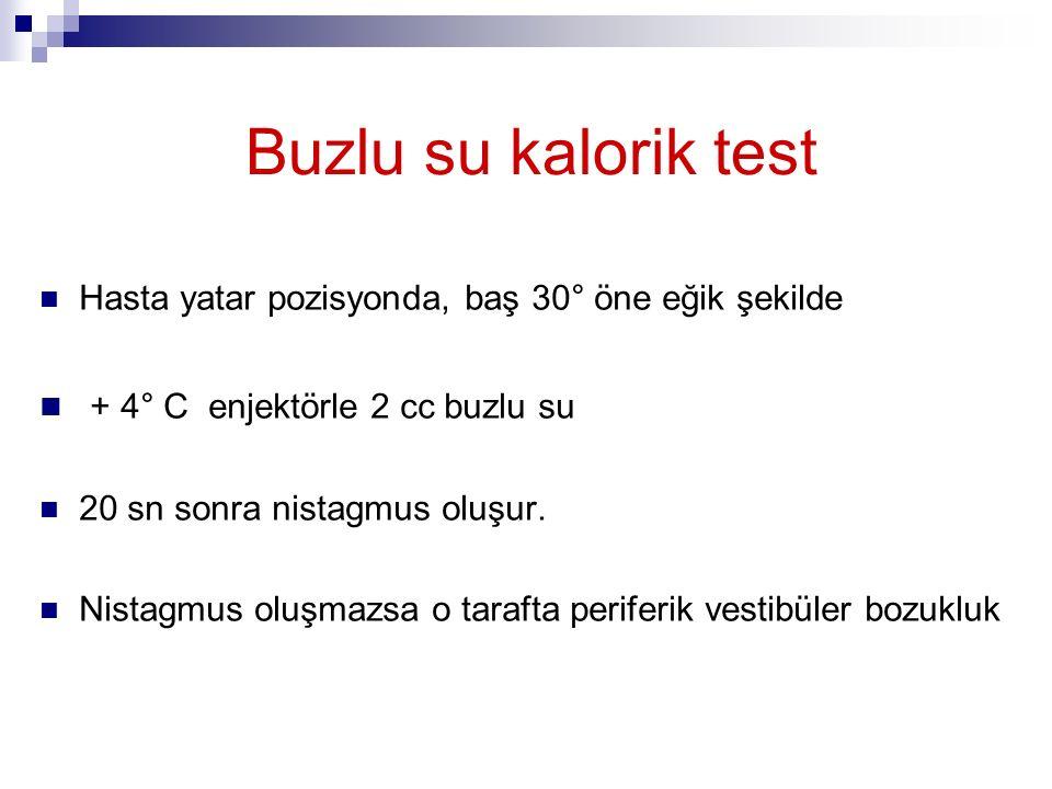 Buzlu su kalorik test + 4° C enjektörle 2 cc buzlu su