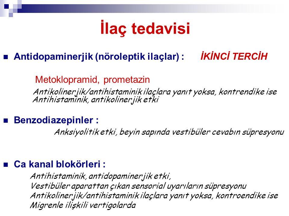 İlaç tedavisi Antidopaminerjik (nöroleptik ilaçlar) : İKİNCİ TERCİH