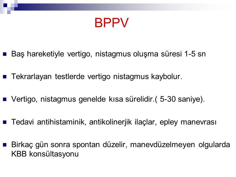 BPPV Baş hareketiyle vertigo, nistagmus oluşma süresi 1-5 sn