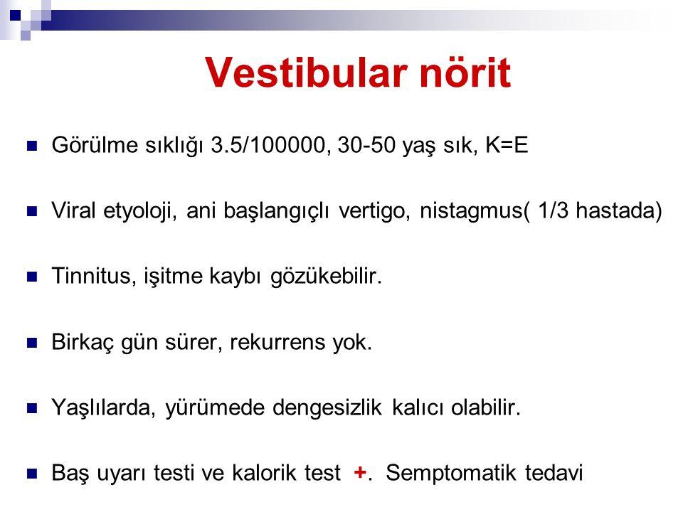 Vestibular nörit Görülme sıklığı 3.5/100000, 30-50 yaş sık, K=E