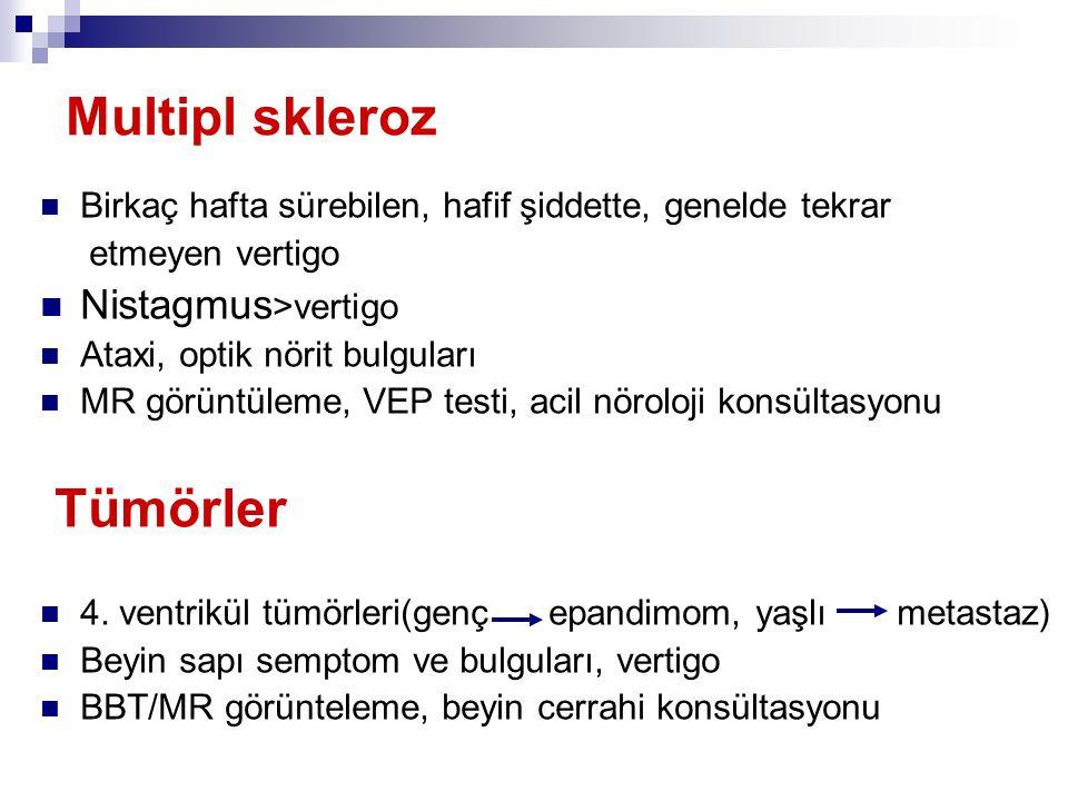 Multipl skleroz Tümörler Nistagmus>vertigo