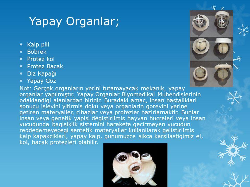 Yapay Organlar; Kalp pili Böbrek Protez kol Protez Bacak Diz Kapağı