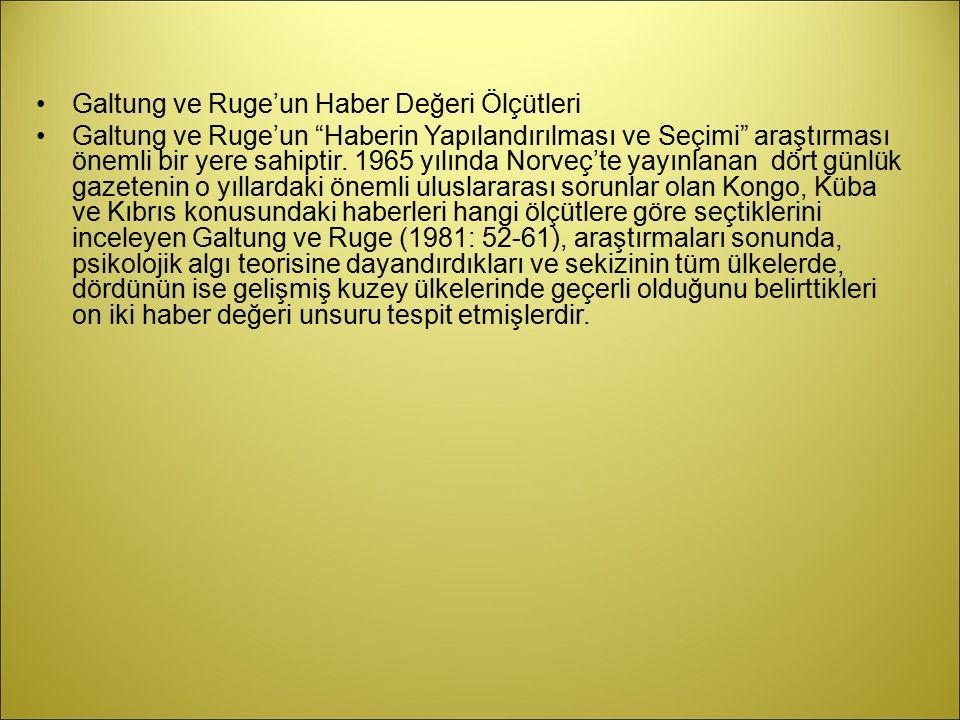 Galtung ve Ruge'un Haber Değeri Ölçütleri
