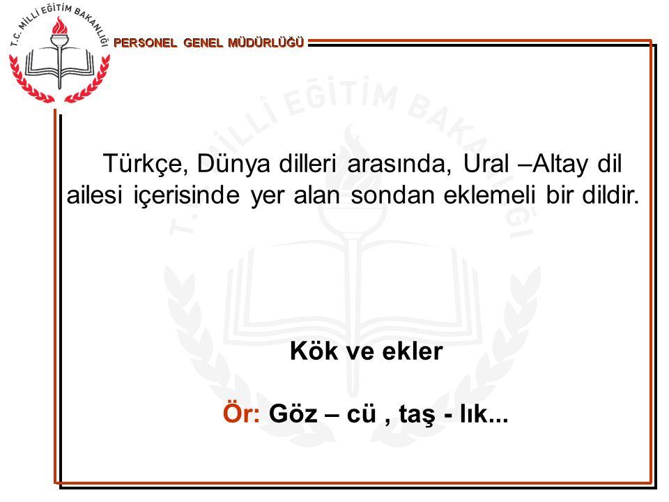 Türkçe, Dünya dilleri arasında, Ural –Altay dil ailesi içerisinde yer alan sondan eklemeli bir dildir.