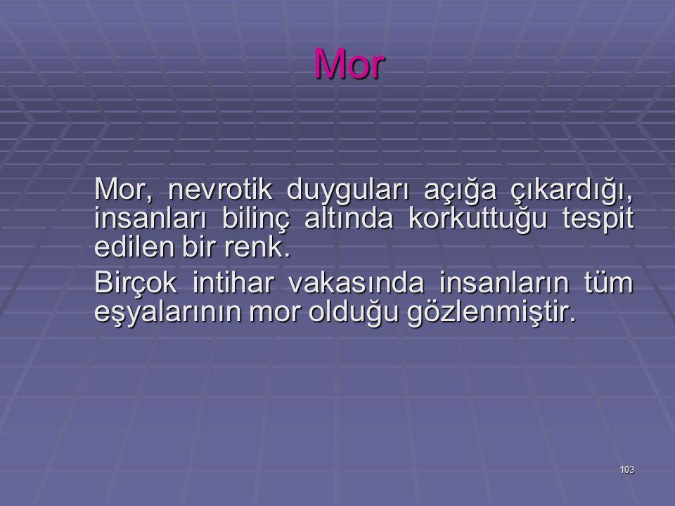 Mor Mor, nevrotik duyguları açığa çıkardığı, insanları bilinç altında korkuttuğu tespit edilen bir renk.