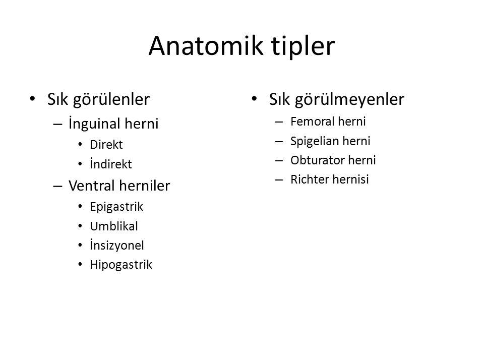 Anatomik tipler Sık görülenler Sık görülmeyenler İnguinal herni