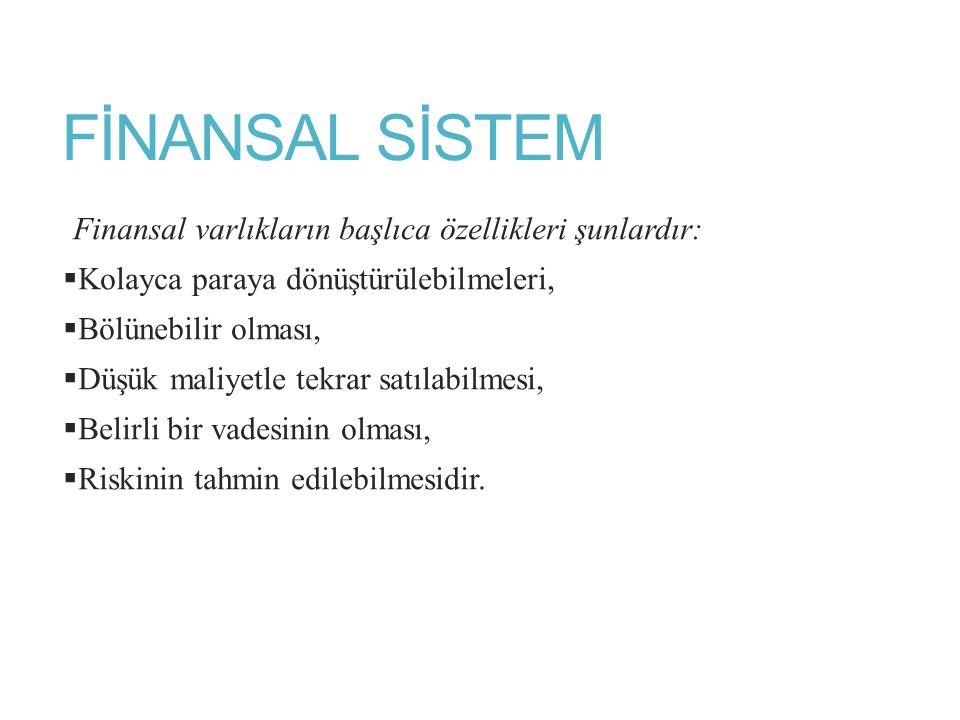 FİNANSAL SİSTEM Finansal varlıkların başlıca özellikleri şunlardır: