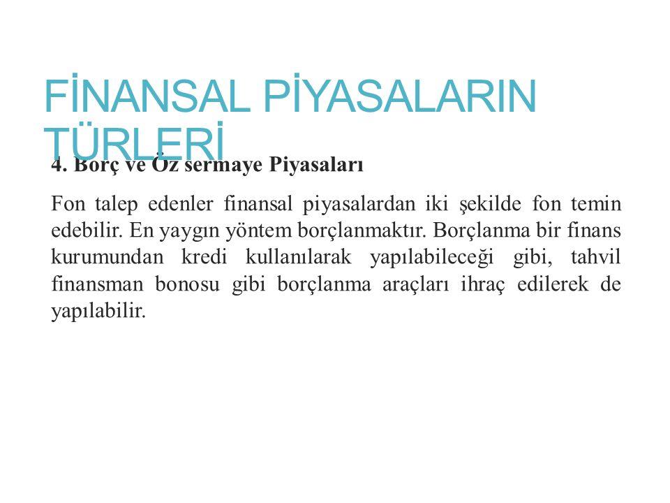 FİNANSAL PİYASALARIN TÜRLERİ