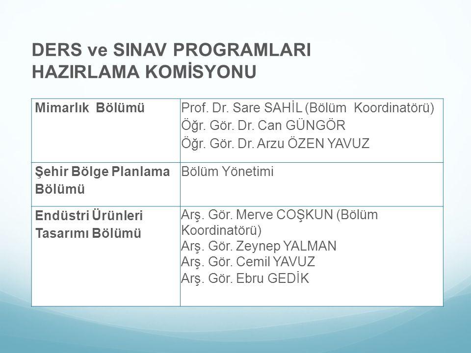 DERS ve SINAV PROGRAMLARI HAZIRLAMA KOMİSYONU