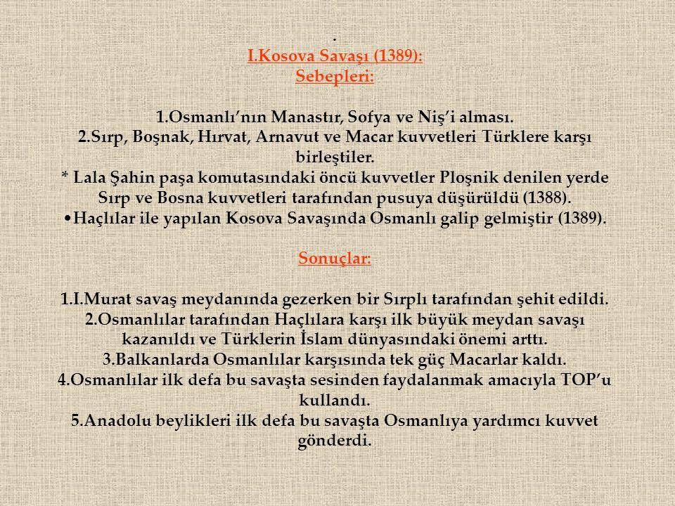 1.Osmanlı'nın Manastır, Sofya ve Niş'i alması.
