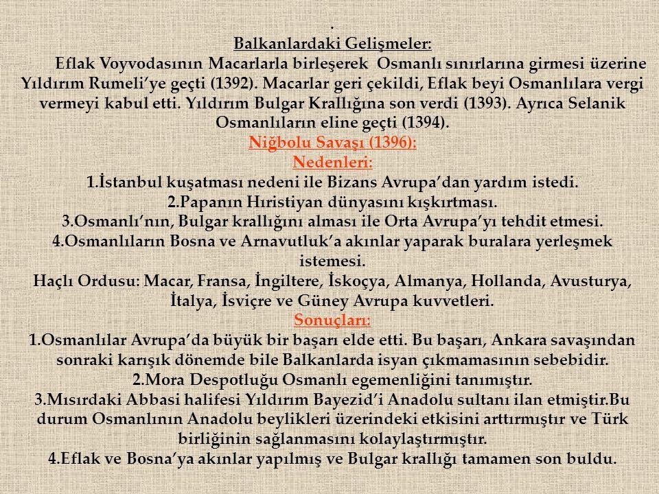 Balkanlardaki Gelişmeler: