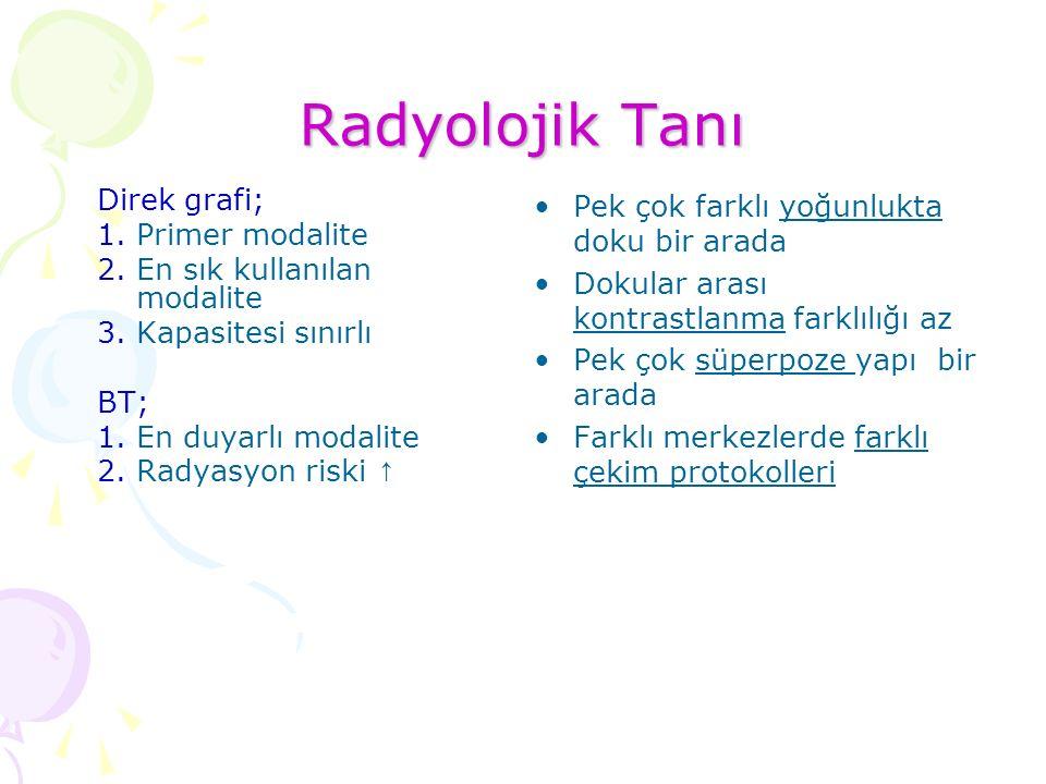 Radyolojik Tanı Direk grafi; Primer modalite
