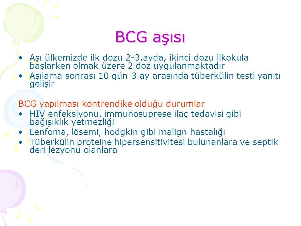 BCG aşısı Aşı ülkemizde ilk dozu 2-3.ayda, ikinci dozu ilkokula başlarken olmak üzere 2 doz uygulanmaktadır.