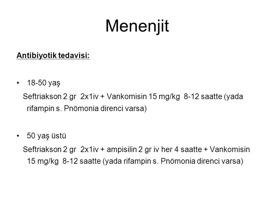 Menenjit Antibiyotik tedavisi: 18-50 yaş