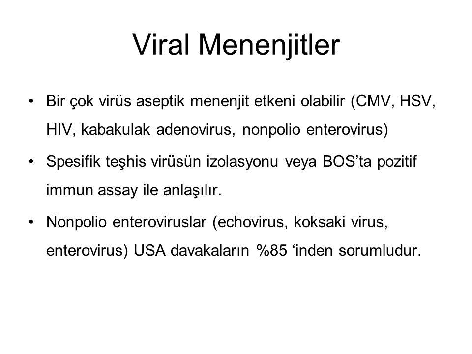 Viral Menenjitler Bir çok virüs aseptik menenjit etkeni olabilir (CMV, HSV, HIV, kabakulak adenovirus, nonpolio enterovirus)