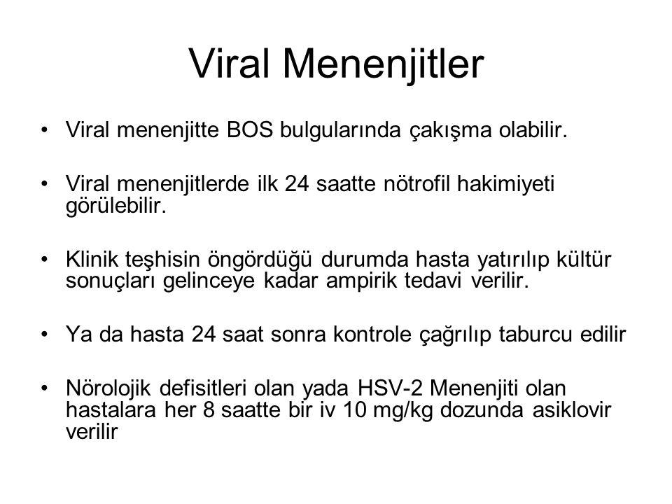 Viral Menenjitler Viral menenjitte BOS bulgularında çakışma olabilir.