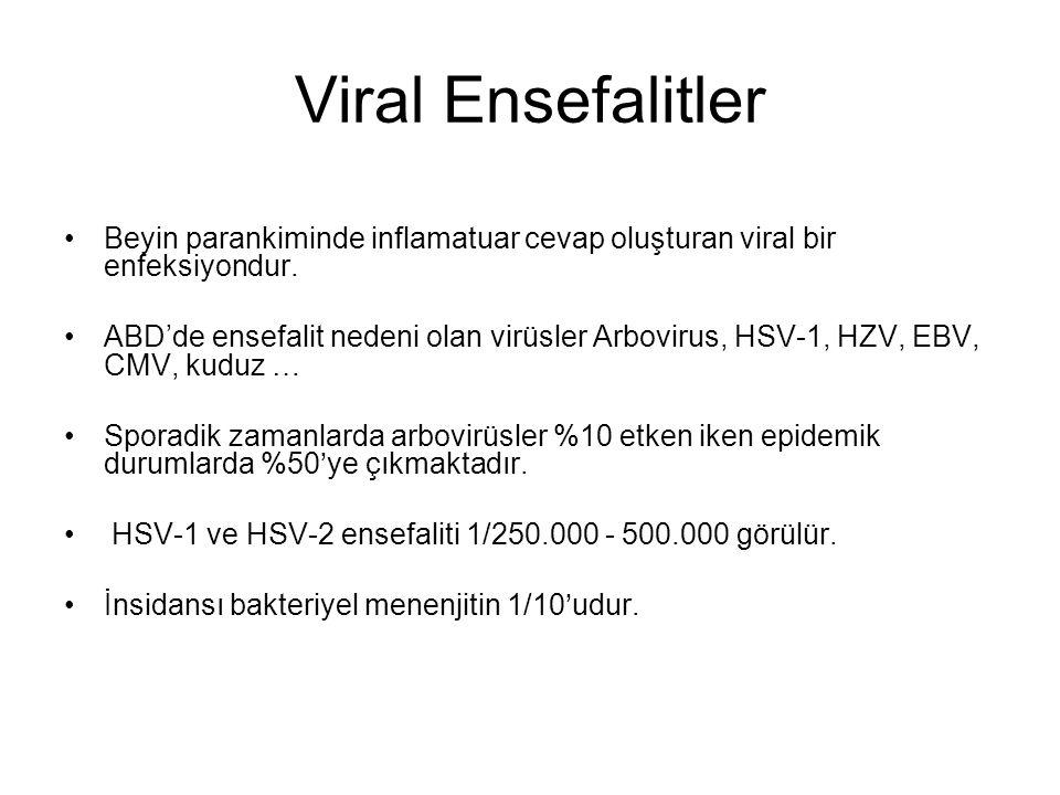 Viral Ensefalitler Beyin parankiminde inflamatuar cevap oluşturan viral bir enfeksiyondur.