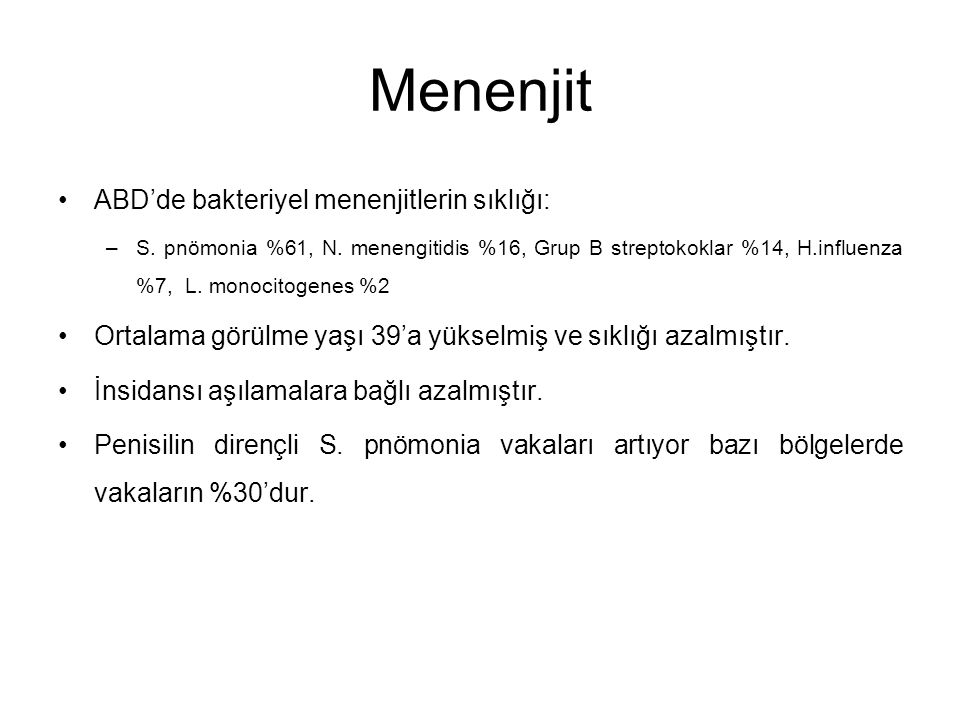 Menenjit ABD'de bakteriyel menenjitlerin sıklığı: