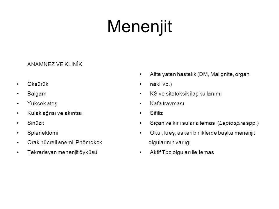 Menenjit ANAMNEZ VE KLİNİK Altta yatan hastalık (DM, Malignite, organ