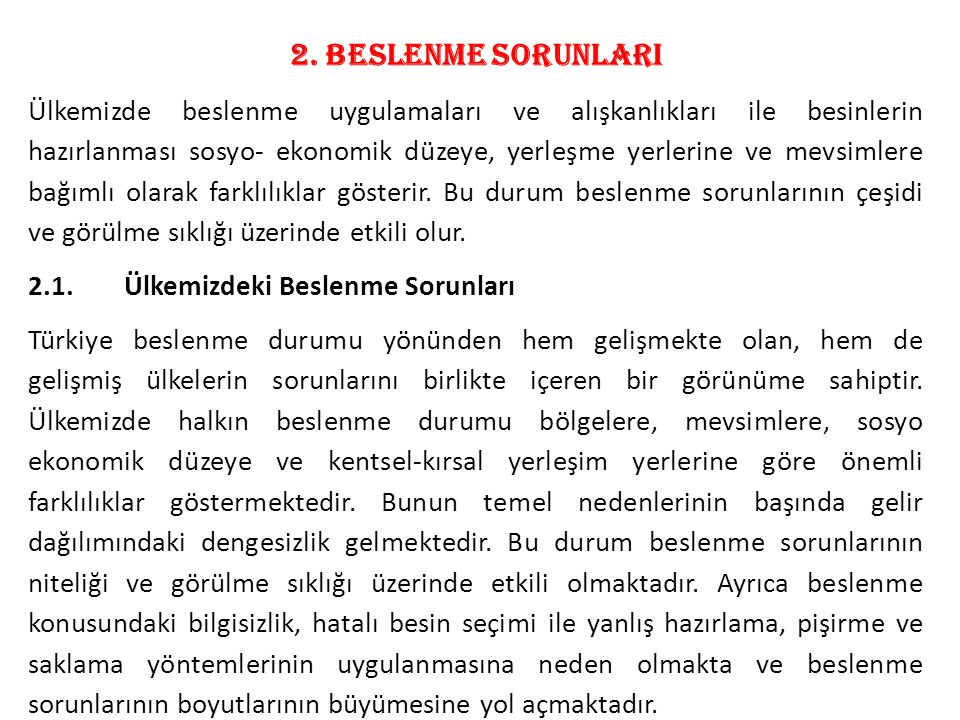 2. BESLENME SORUNLARI