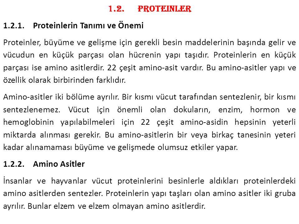 1.2. Proteinler 1.2.1. Proteinlerin Tanımı ve Önemi.