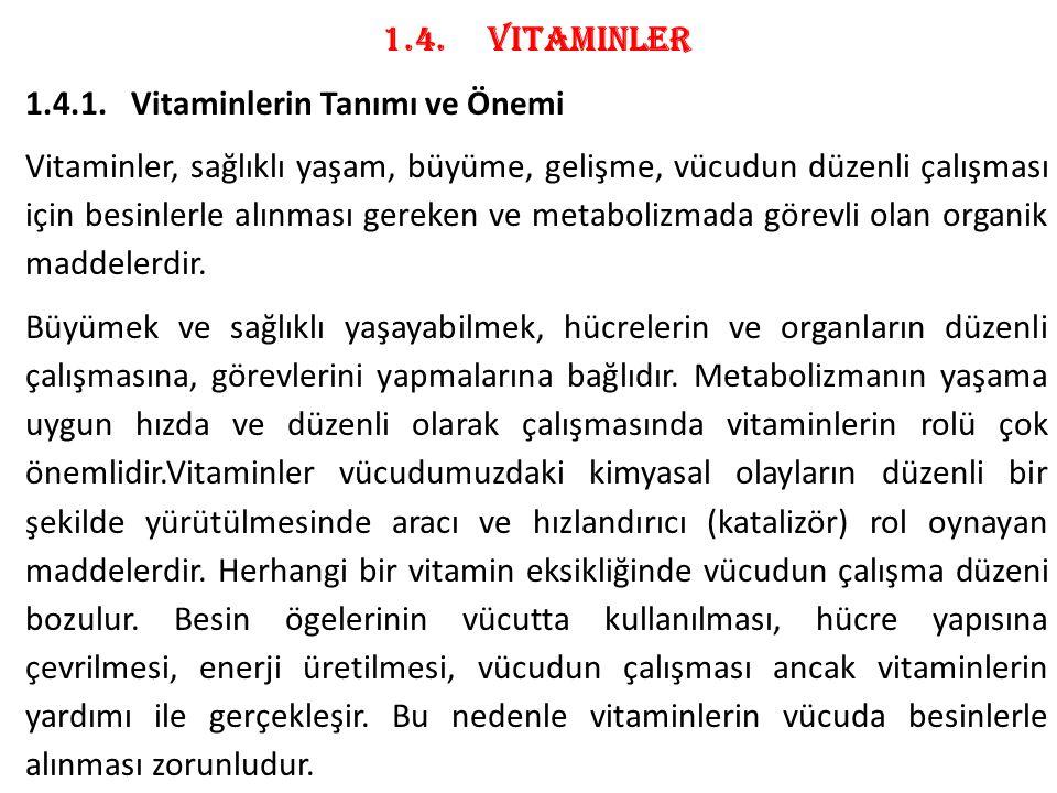 1.4. Vitaminler 1.4.1. Vitaminlerin Tanımı ve Önemi.