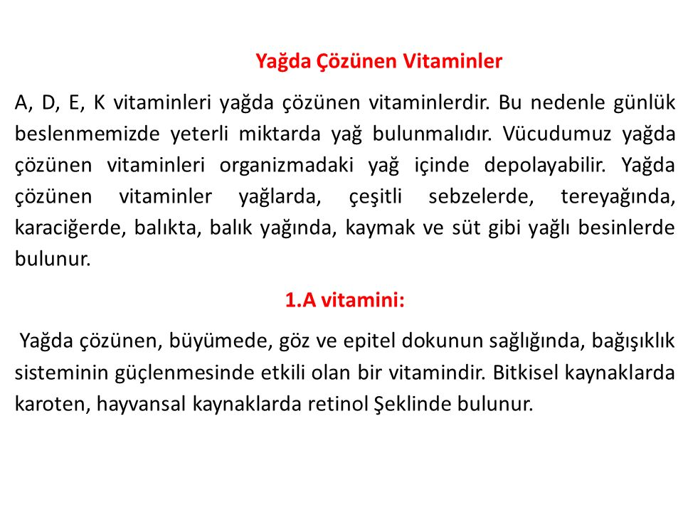 Yağda Çözünen Vitaminler