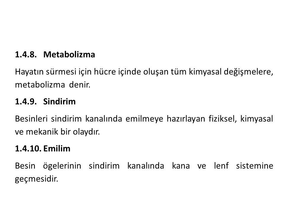 1.4.8. Metabolizma Hayatın sürmesi için hücre içinde oluşan tüm kimyasal değişmelere, metabolizma denir.