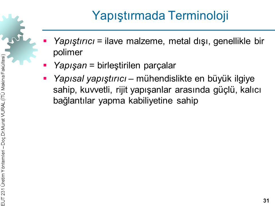 Yapıştırmada Terminoloji