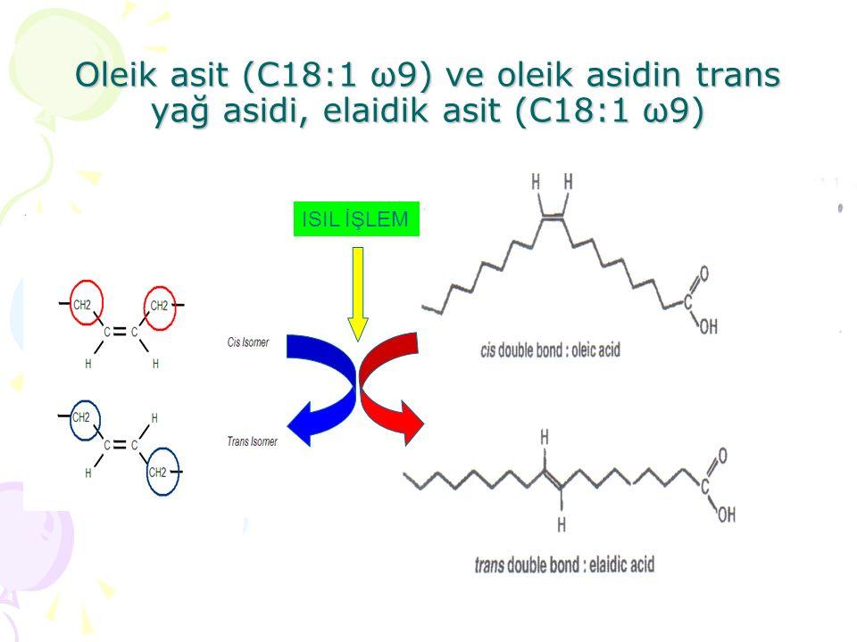 Oleik asit (C18:1 ω9) ve oleik asidin trans yağ asidi, elaidik asit (C18:1 ω9)