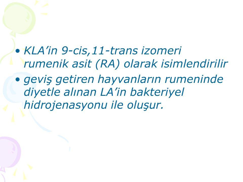 KLA'in 9-cis,11-trans izomeri rumenik asit (RA) olarak isimlendirilir