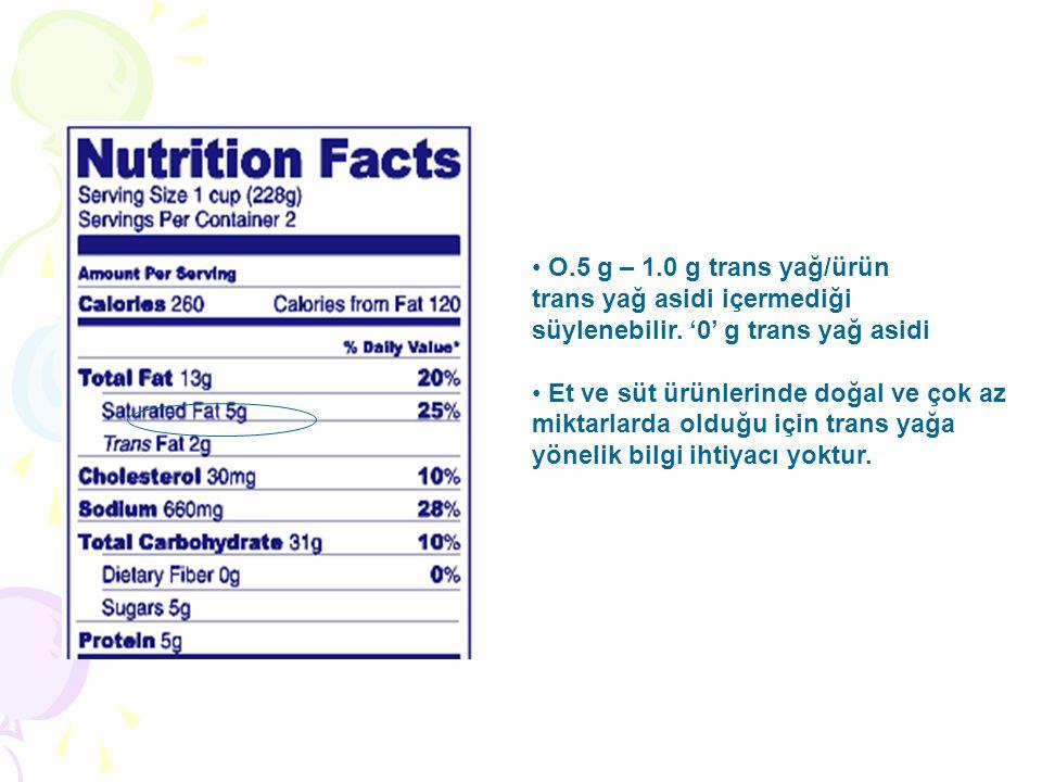 O.5 g – 1.0 g trans yağ/ürün trans yağ asidi içermediği. süylenebilir. '0' g trans yağ asidi. Et ve süt ürünlerinde doğal ve çok az.