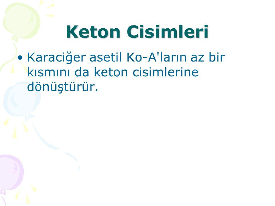 Keton Cisimleri Karaciğer asetil Ko-A ların az bir kısmını da keton cisimlerine dönüştürür.