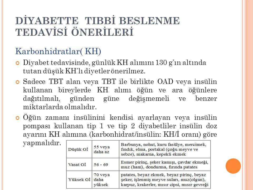DİYABETTE TIBBİ BESLENME TEDAVİSİ ÖNERİLERİ