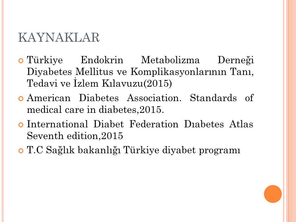 KAYNAKLAR Türkiye Endokrin Metabolizma Derneği Diyabetes Mellitus ve Komplikasyonlarının Tanı, Tedavi ve İzlem Kılavuzu(2015)