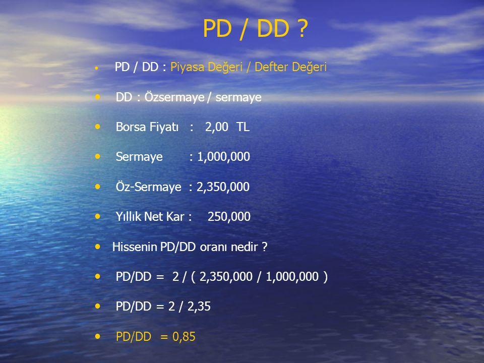 PD / DD DD : Özsermaye / sermaye Borsa Fiyatı : 2,00 TL