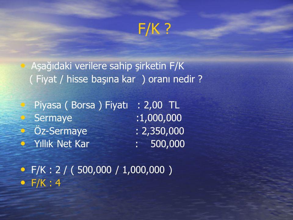 F/K Aşağıdaki verilere sahip şirketin F/K