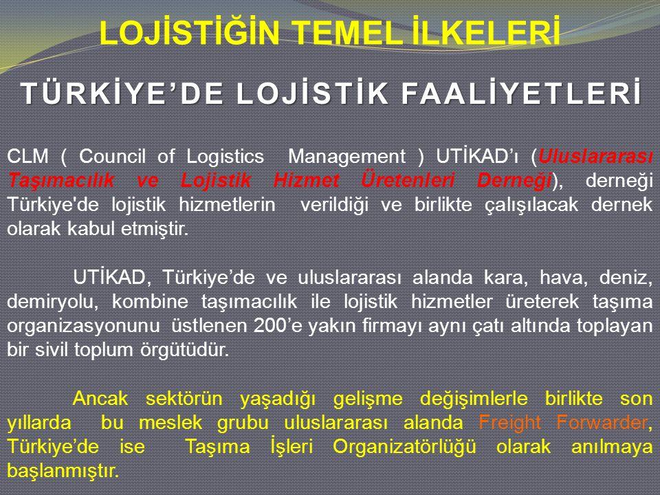 TÜRKİYE'DE LOJİSTİK FAALİYETLERİ