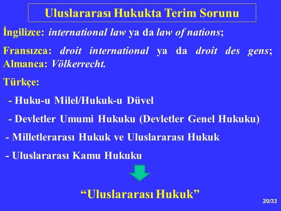 Uluslararası Hukukta Terim Sorunu