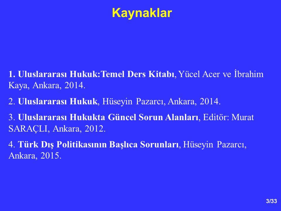 Kaynaklar 1. Uluslararası Hukuk:Temel Ders Kitabı, Yücel Acer ve İbrahim Kaya, Ankara, 2014. 2. Uluslararası Hukuk, Hüseyin Pazarcı, Ankara, 2014.