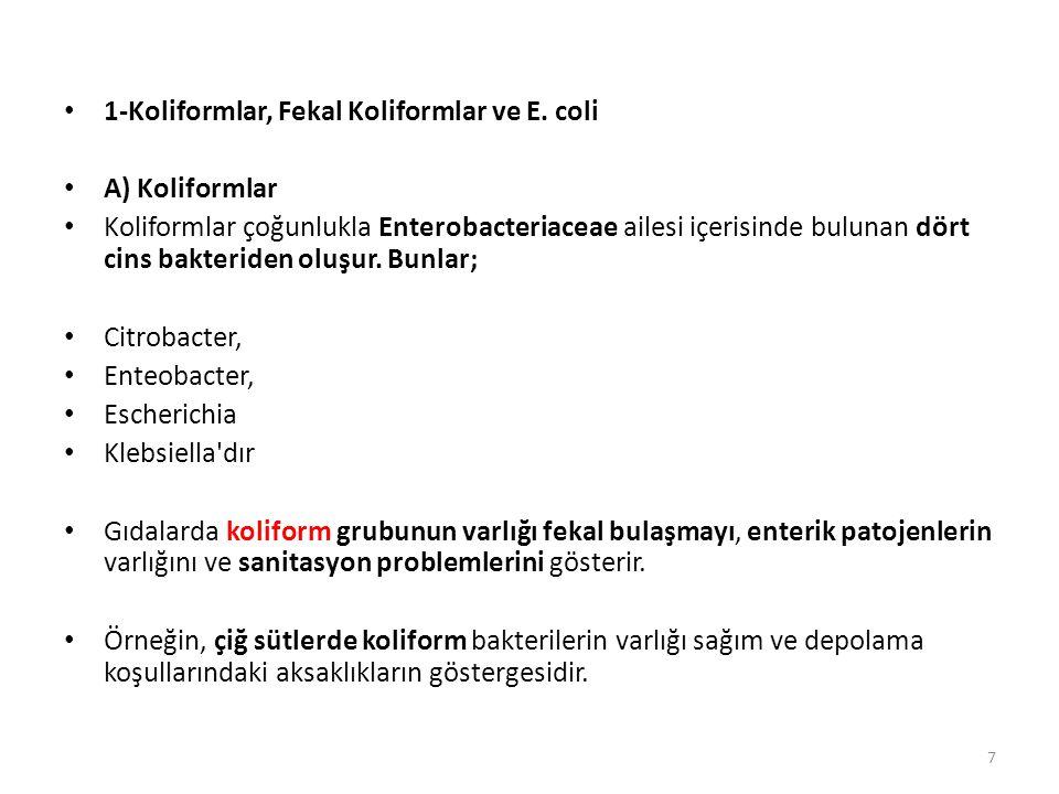 1-Koliformlar, Fekal Koliformlar ve E. coli