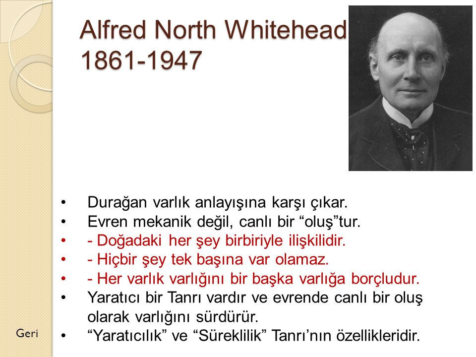 Alfred North Whitehead 1861-1947